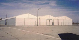 Outside Edwards AFB, CA Side by Side Structure | Temporary Warehouse Structures